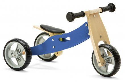 NIC805 Mini 2 in 1 Blue Wooden Balance Bike Trike